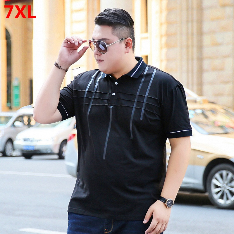 Special fat extra large black short-sleeved pol-shirt fat casual slim collar shirt   polo   shirt large size tide brand 7XL 6XL 5XL