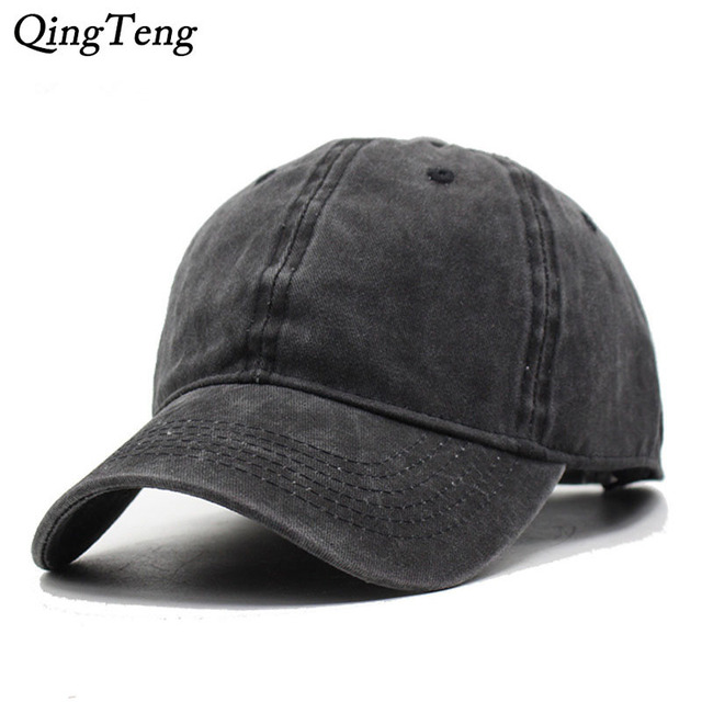 fedc684b3e1 Solid Blank Men Cap Baseball Hat Women Strapback Denim Cloth Cap Casual Sun  Dad Cap Breathable Bone