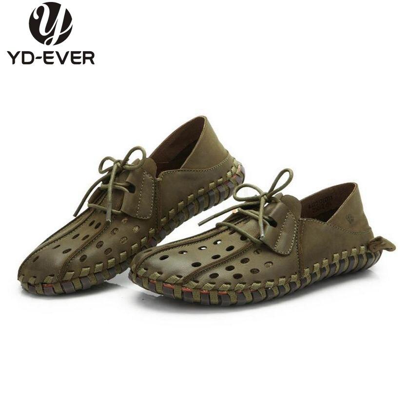 100% Echtem Leder MÄnner Schuhe, Handgemachte Plus Size Driving Schuhe, Business Schuhe, Atmungs Mokassin Loch Sommer Weiche Slipper ZuverläSsige Leistung