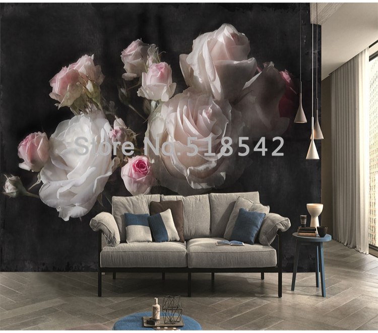 Custom Mural Wallpaper European Retro Rose Flowers Living Room Bedroom Background Wall Decoration Waterproof 3D Wallpaper Mural
