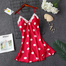 Daeyard Silk Nightgown Women Fashion Polka Dot Nightdress Sexy Lace Trimmed Summer Mini Dress Sleepwear With Ches Pads Homewear