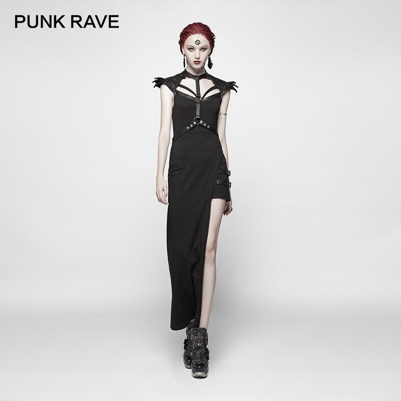 PUNK RAVE nowy Punk asymetryczna Sexy czarna sukienka damska Steampunk talia pas może odpinany Slim bawełna bandaż sukienka klubowa w Suknie od Odzież damska na AliExpress - 11.11_Double 11Singles' Day 1