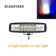 ECAHAYAKU 1pcs 48W 6 inch Led Warning Light LED work light red and blue Strobe Flash lamp for jeep offroad car ATV SUV Truck UTV