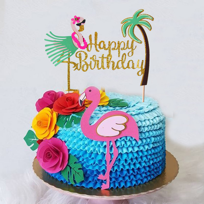 Enjoyable 1Pcs Funny Flamingo Happy Birthday Cake Topper Aloha Hawaiian Luau Personalised Birthday Cards Bromeletsinfo