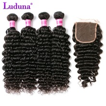 Luduna Deep Wave Bundles With Closure Human Hair Brazilian Hair Weave Bundles With Closure Remy Hair
