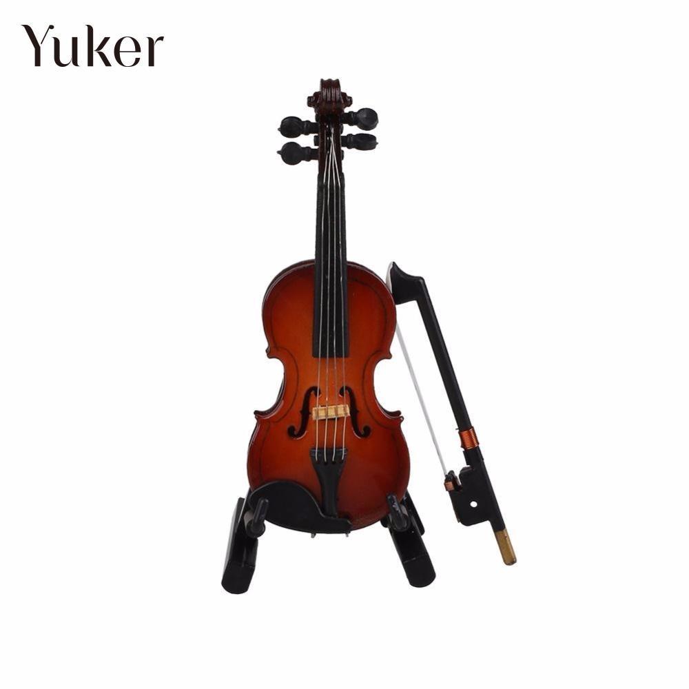 Yuker 1/12 maison de poupée Miniature violon en bois avec support en - Instruments de musique - Photo 2