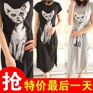 Fashion cat one-piece dress cotton modal cotton t-shirt full dress jumpsuit placketing one-piece dress
