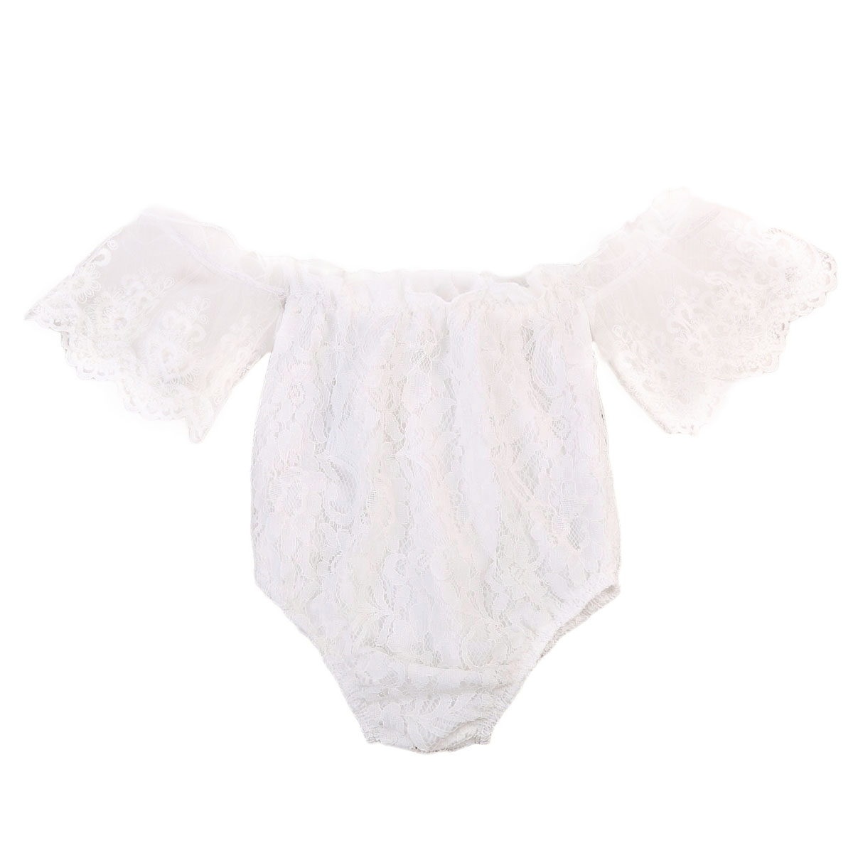 Cute White Off Shoulder   Rompers   Infant Baby Girl Clothes Lace Floral Ruffles Baby Girl   Romper   Sunsuit Outfits Baby Girl Clothing