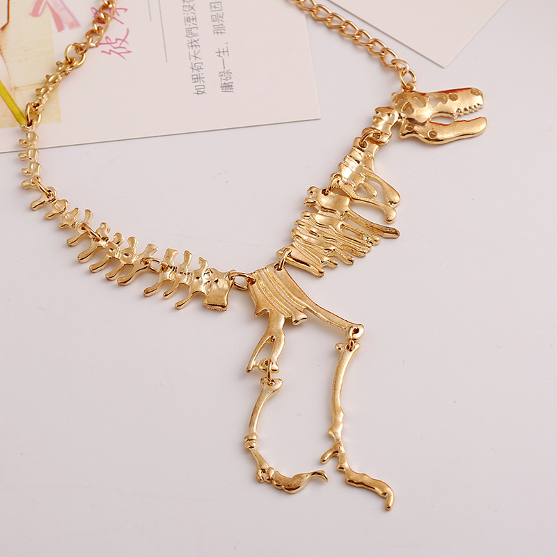 Gold Painted Dinosaur Necklace 3 2