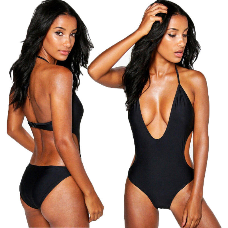 <font><b>2018</b></font> New <font><b>Women</b></font> <font><b>Sexy</b></font> Swimsuit Strappy Solid <font><b>One</b></font> <font><b>Piece</b></font> <font><b>Swimwear</b></font> <font><b>High</b></font> <font><b>Cut</b></font> Monokini Backless Swimsuit Bikini Black image