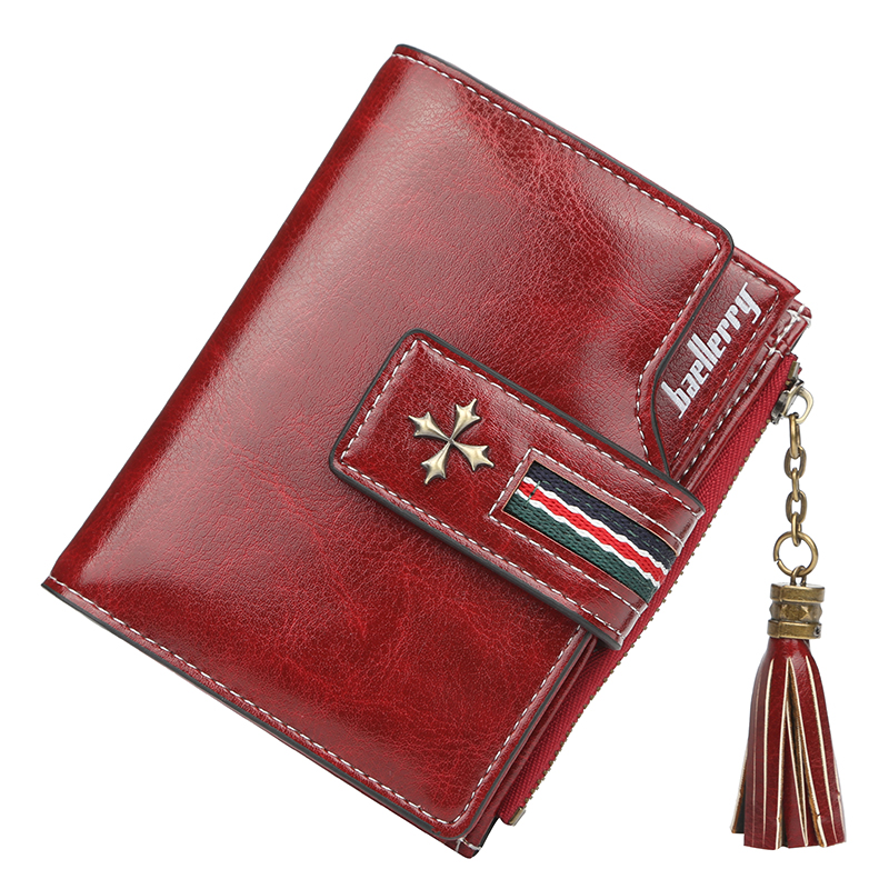 Brand Leather Women Wallet Short Wallets Ladies Vintage Small Tassel Purse Women Red Wallet Female Trifold Cute Carteira Portfel