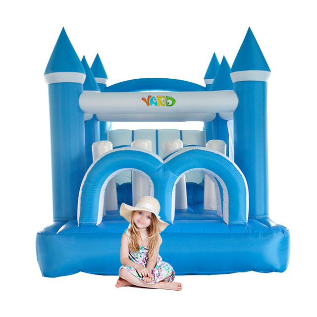 YARD Large Bounce House Inflatable Bouncers Blue White Snow Castle Kids Obstacle Course with Slide