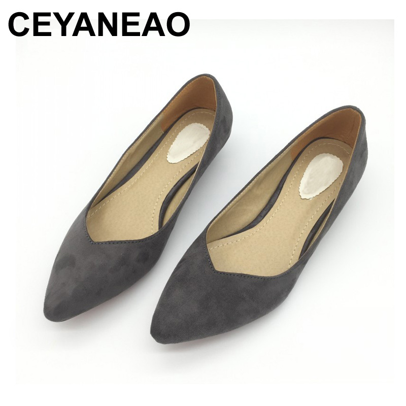 CEYANEAO Fashion Brand Shoes Women Pointed toe Flock Slip On Shallow Mouth Pumps Shoes Ladies Low Heel Single Shoes 2018 spring summer low heel sandals pointed toe shallow mouth women shoes woman cozy casual shoes leisure single ladies shoes cy