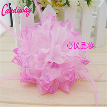 2017 Fashion Pink Big Flowers Girls Hairband Hairwear Holders For Hair Ties Women's Elastic Hair Band Dual Use Head&Hand 1pcs