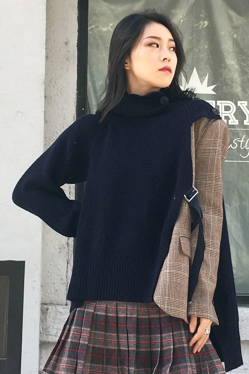 Femme Dentelle Manteau X144 Bleu En Tops De Mode marine 2018 Irrégulière Manches Automne Patchwork Plaid Femmes Longues Up Nouveau Noir Tricot Veste À EtxwBA8qH