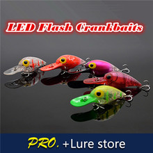 Free shipping 1pc hard LED crankbait,floating crankbait for fishing tackle , artificial flash crankbait, fishing crank lure bait
