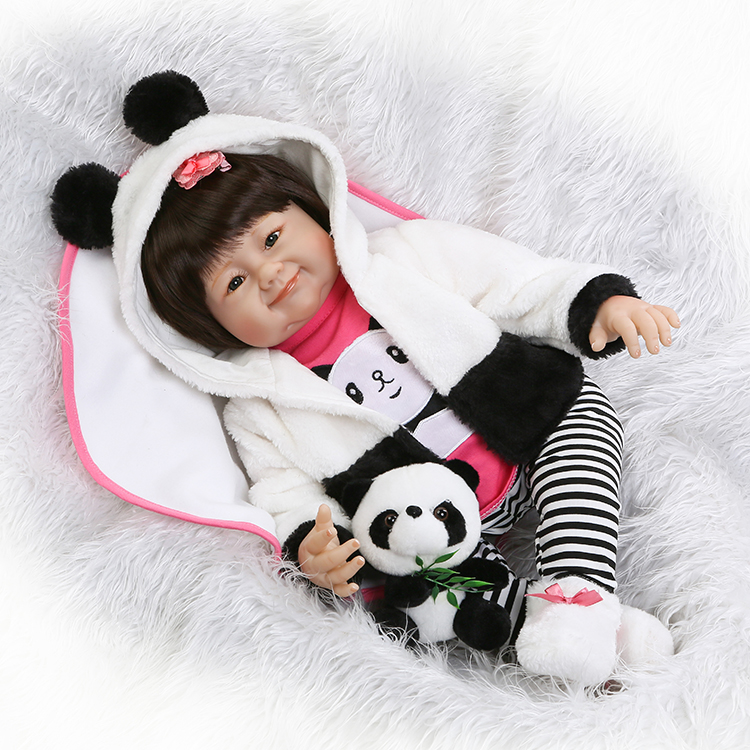 22 55cm Silicone reborn baby dolls soft touch real looking newborn baby girl NPK Chinese dolls gift panda clothing bonecas22 55cm Silicone reborn baby dolls soft touch real looking newborn baby girl NPK Chinese dolls gift panda clothing bonecas