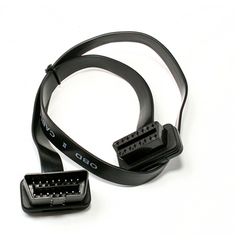 Free DHL 50pcs 60CM Ultra Straight Right or Left Down OBD II 2 Extension Cord with Ribbon Cable OBD2 Conntector Cable