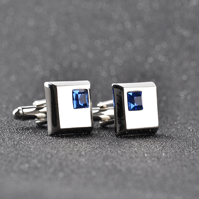 A Pair High Quality Trendy Silver Color Square Cufflinks Classic Men Luxury Blue White Crystal Cuff Links French Shirt Cufflink
