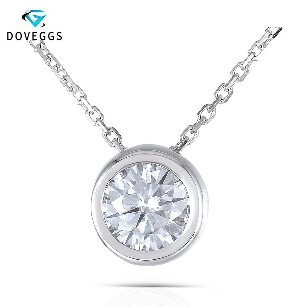 DovEggs 18 K 750 or blanc lunette réglage 1ct Carat 6.5 MM F couleur Moissanite diamant pendentif collier pour les femmes cadeau de mariage