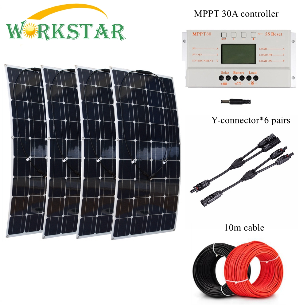 4pcs 100W Flexible Solar Panel with MPPT 30A Controller and MC4 Y-connectors For 12V Battery Solar Charger Houseuse Solar Kit