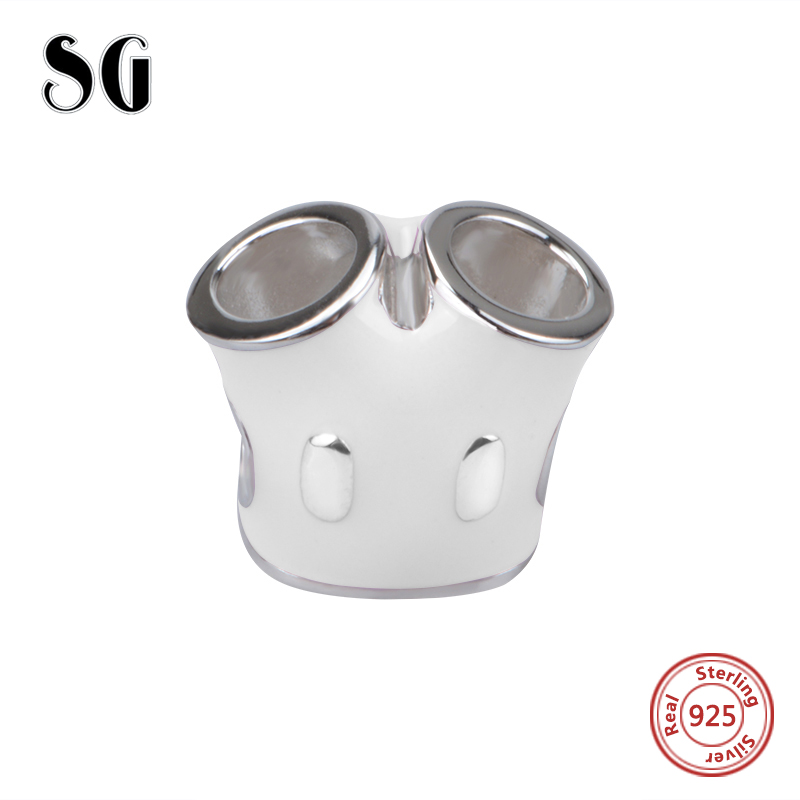 Hot sale SG Charms NEW 925 sterling silver White Pants Beads Fit Authentic pandora charm bracelet charms jewelry organizer 2017