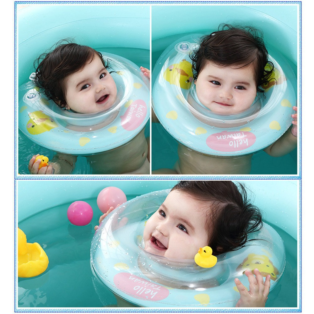 Baby Neck Float Swim Trainer Kids Infant Adjustable Double Handrail Safety Thickend Newborn Swimming Neck Ring For 0 24 Months