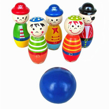 free shipping Children Toys Wooden Bowling Ball Skittle Funny Shape for Kids Game(China)