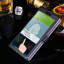 купить 5 Colors With View Window Case For Sony Xperia C3 D2533 D2502 S55T Luxury Transparent Flip Cover For HTC ONE A9 Phone Case дешево