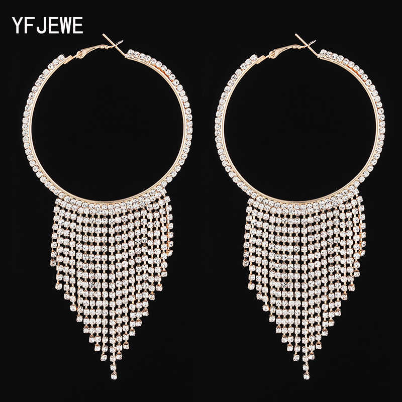 YFJEWE 2019 New Circle Luxury Crystal Tassel Earrings for Women Girl Wedding Party Charm Elegant Long Earring Jewelry Gift #E618