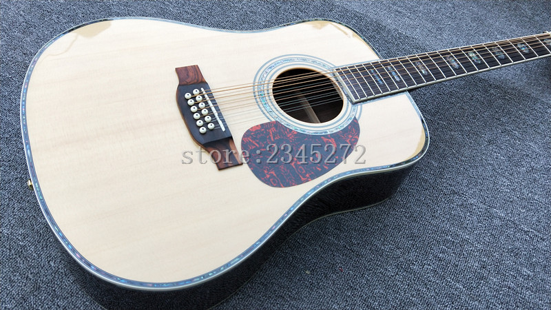 Factory Custom High Quality 12 String Solid Spruce Top Acoustic Guitar Rosewood Fingerboard Free Shipping guitarra