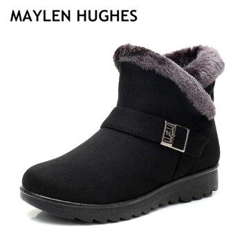54f922fd Invierno mujeres botas nueva moda Flock Wedge plataforma negra caliente del invierno  nieve botas madre hembra más tamaño de los zapatos 35-41