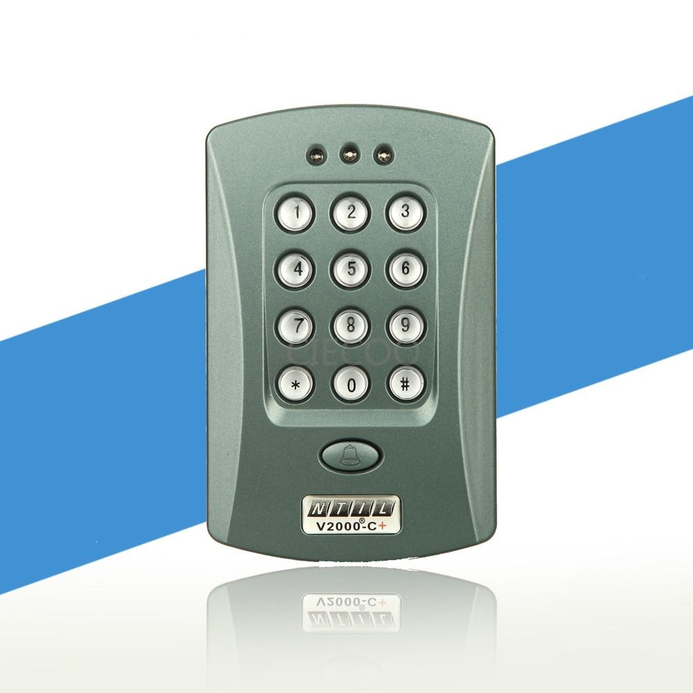 все цены на Free Shipping 125KHz Door RFID Keypad Proximity Reader Access Controller System Kit + 10 Free Key Fobs Brand NEW V2000-C
