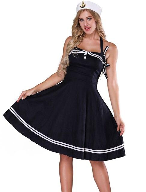 04bc53b13 Traje de marinero S para mujeres-mujeres 1950 s Halter azul marino Vintage  vestido Pinup