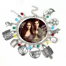 Televisão o vampiro diários pingentes pulseira máscara pentagrama link corrente pulseiras para acessórios femininos