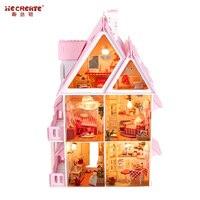 Трехслойный Кукольный дом «сделай сам» большого размера, деревянные кукольные дома, миниатюрный кукольный домик, комплект мебели, подарок ...