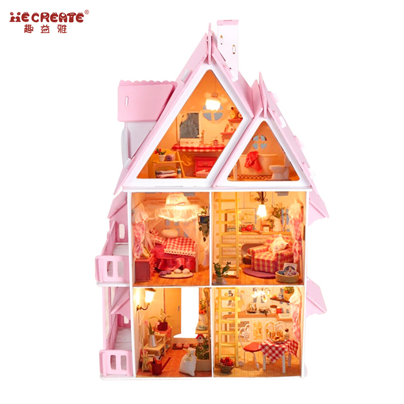 цена на Big Size Three Layer DIY Doll House Wooden Doll Houses Miniature dollhouse Furniture Kit Toys for children Christmas Gift
