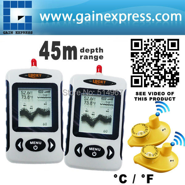 2 pieces x LUCKY Professional Digital FFW-718 Wireless Fish Finder Sonar Radio Sea Bed Contour Live Update 45M lot of 2 lucky fishing sonar wireless wifi fish finder 50m130ft sea fish detect finder for ios android wi fi fish finder ff916