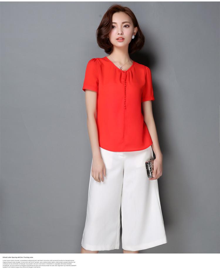 HTB16aK NXXXXXX4apXXq6xXFXXXC - Casual Women Chiffon Blouse Ladies Solid Short Sleeve