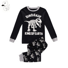 BINIDUCKLING Spring Baby Boys Sleepwear Pajama Sets 100% Cotton Dinosaur Printed Long T-shirt+Pants Kids Children's Clothing(China)