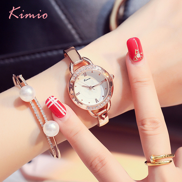 Kimio Brand Woman Bracelet Watches Ladies Roman Numeral Stainless Steel Quartz D