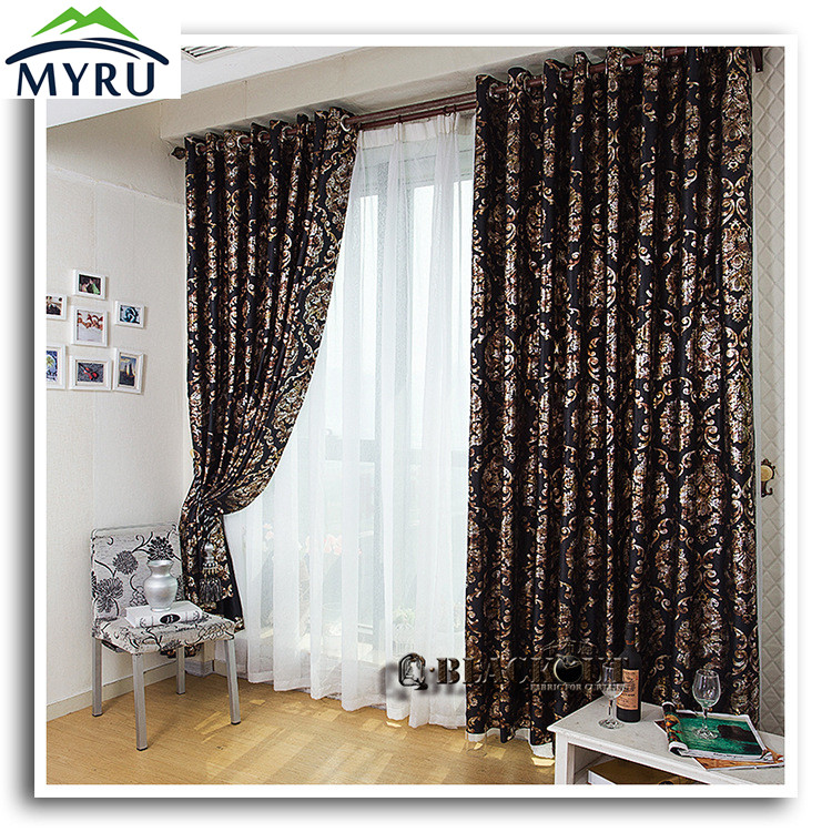 New Arrival Cool Black Shading Cloth Curtain Black And Gold Blackout Curtians For Bedroom And