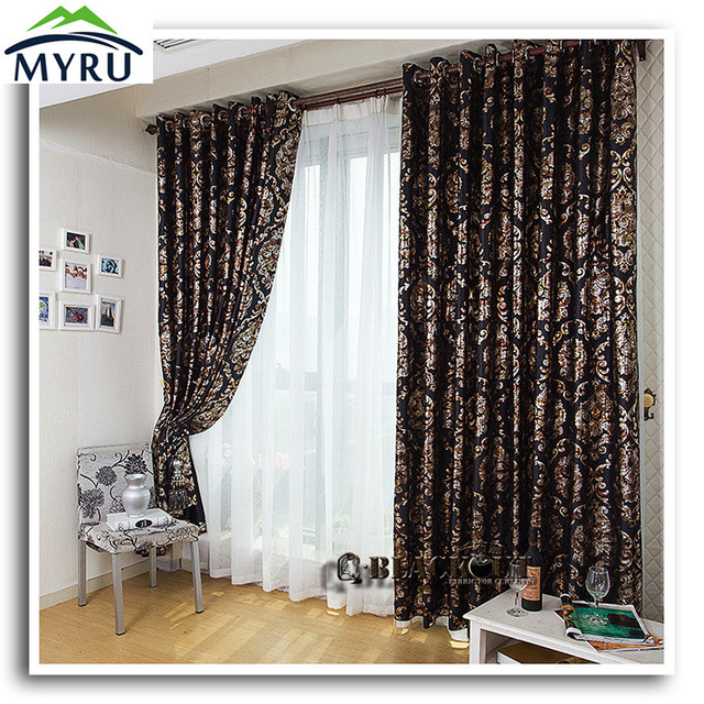 New Arrival Cool Black Shading Cloth Curtain And Gold Blackout Curtians For Bedroom Living