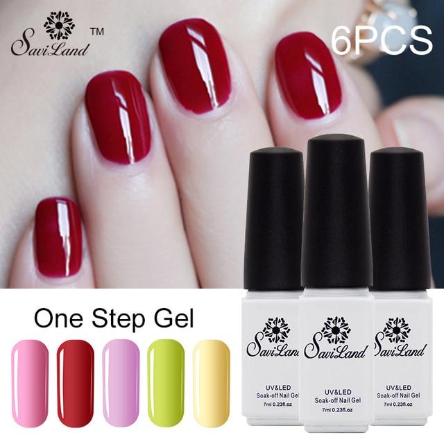 Saviland 6pcs One Step 3 In 1 UV Gel Soak Off 24 Colorful Gel Varnish Vernis Esmalte 3-in-1 One Step Nail Gel Lacquer