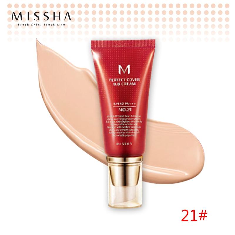 Best Korea Cosmetics MISSHA M Perfect Cover BB Cream 50ml SPF42 PA+++ (NO.21 Light Beige ) Foundation Makeup Perfect BB Cream
