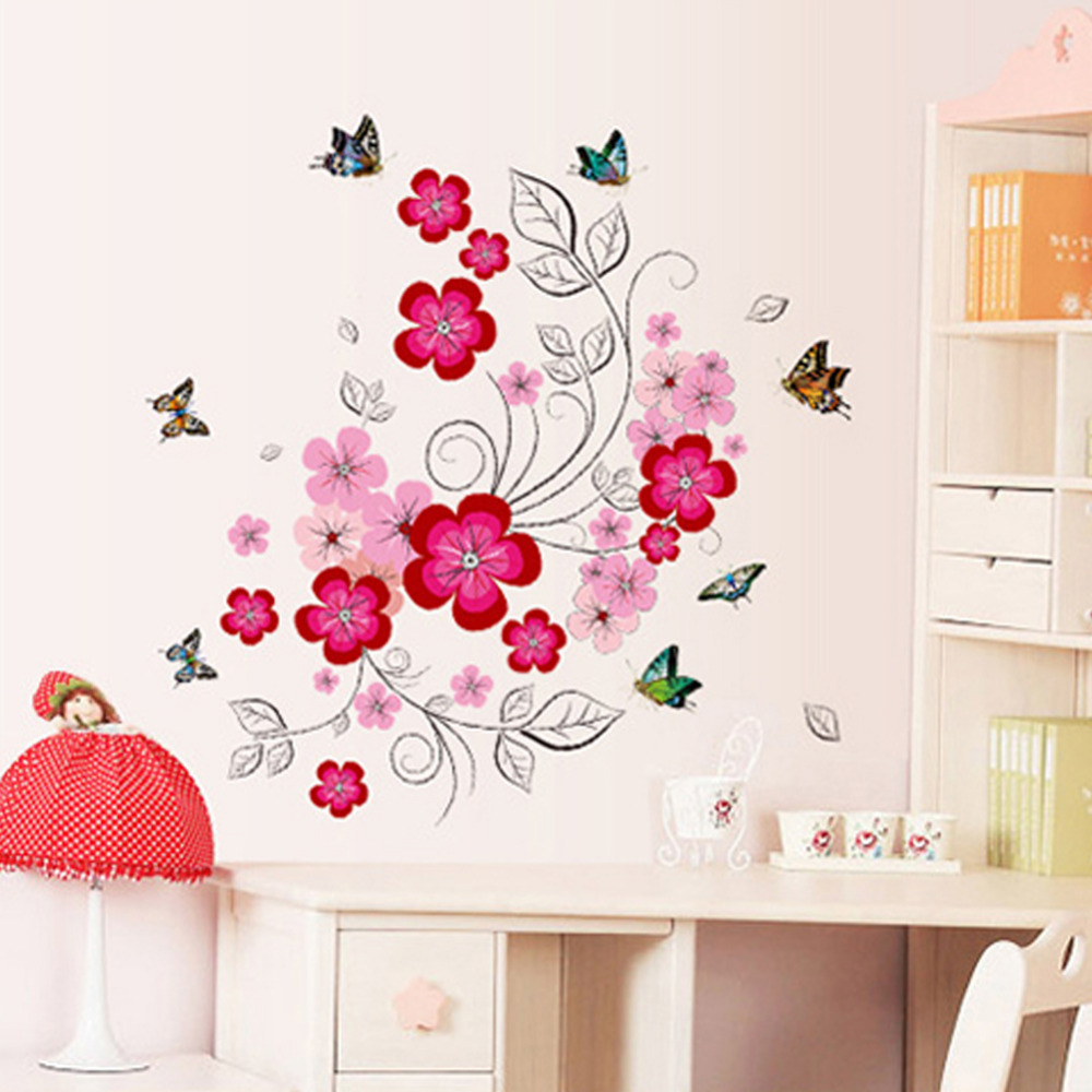 Pink flower fairy beautiful colorful butterfly wall - Beautiful wall stickers for living room ...