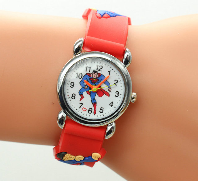 Free Shipping Wholesale Superman Watch,Quartz Cartoon Children 3D Watch 1pcs&Pro