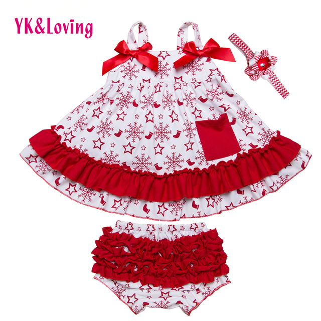 Christmas Clothes Newborn Baby Swing Top Girl Snowflake Ruffle Sling Bat Shirt + Red Bow Bloomers Briefs Sets Infant X011