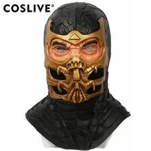 COSLIVE Scorpion Mask Mortal Kombat 9 Game Cosplay Helmet Halloween fancy dress Outfit Props Adult Carnival show Dress