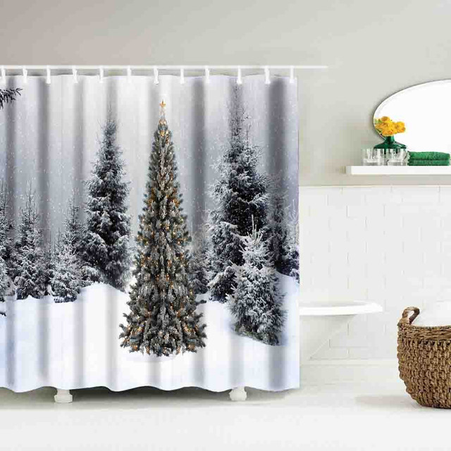 Christmas Shower Curtain Waterproof Polyester Bathroom Decor With Hooks 25